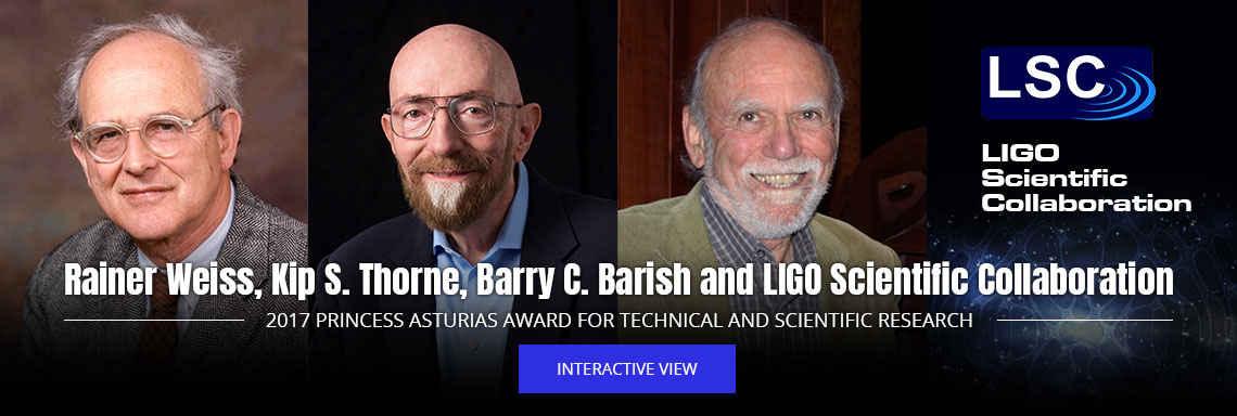 Rainer Weiss, Kip S. Thorne, Barry C. Barish and LIGO Scientific Collaboration