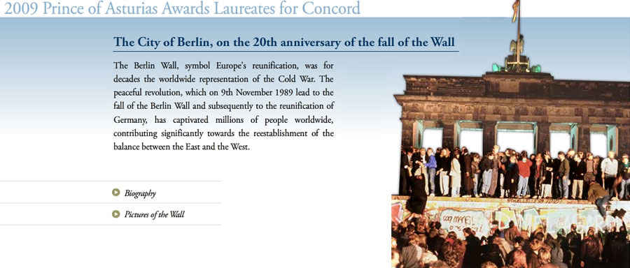 The City of Berlin, on the 20th anniversary of the fall of the Wall