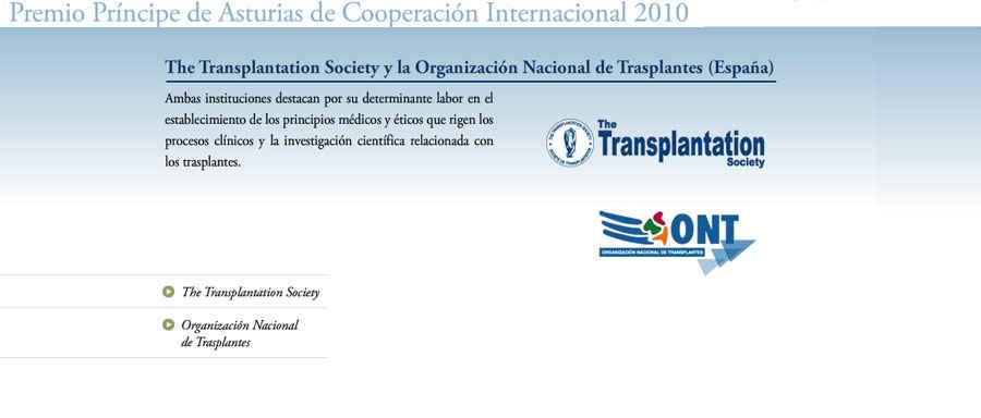 The Transplantation Society y la Organización Nacional de Trasplantes (España)