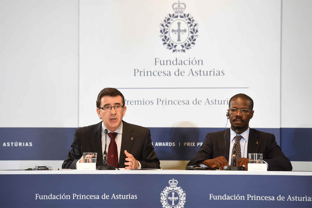 Press conference by Jesús Etayo Arrondo and Pascal Ahodegnon