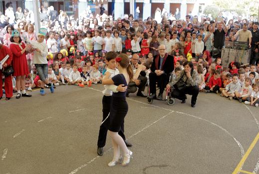 Quino, meeting with schoolchildren