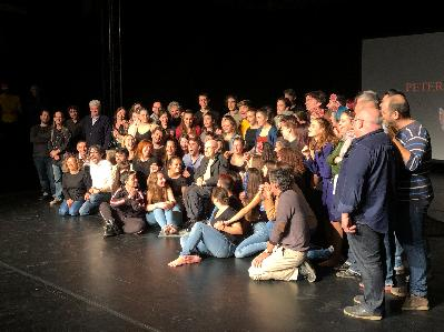 Performance/tribute to Peter Brook and meeting with drama school students.